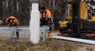 Установка дорожного ограждения барьерного типа 11ДО