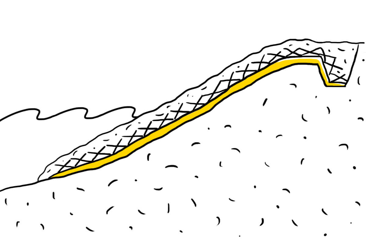 Геосетка и слой балласта
